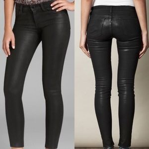 J brand black coated skinny jeans faux leather